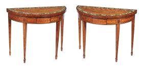 A pair of George III satinwood and painted