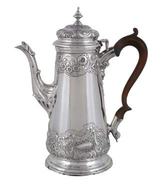 A late Victorian silver straight-tapered coffee pot by