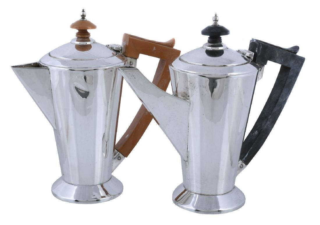 An Art Deco silver straight-tapered three piece cafe au