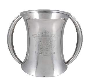 An Edwardian silver twin handled trophy cup by Atkin