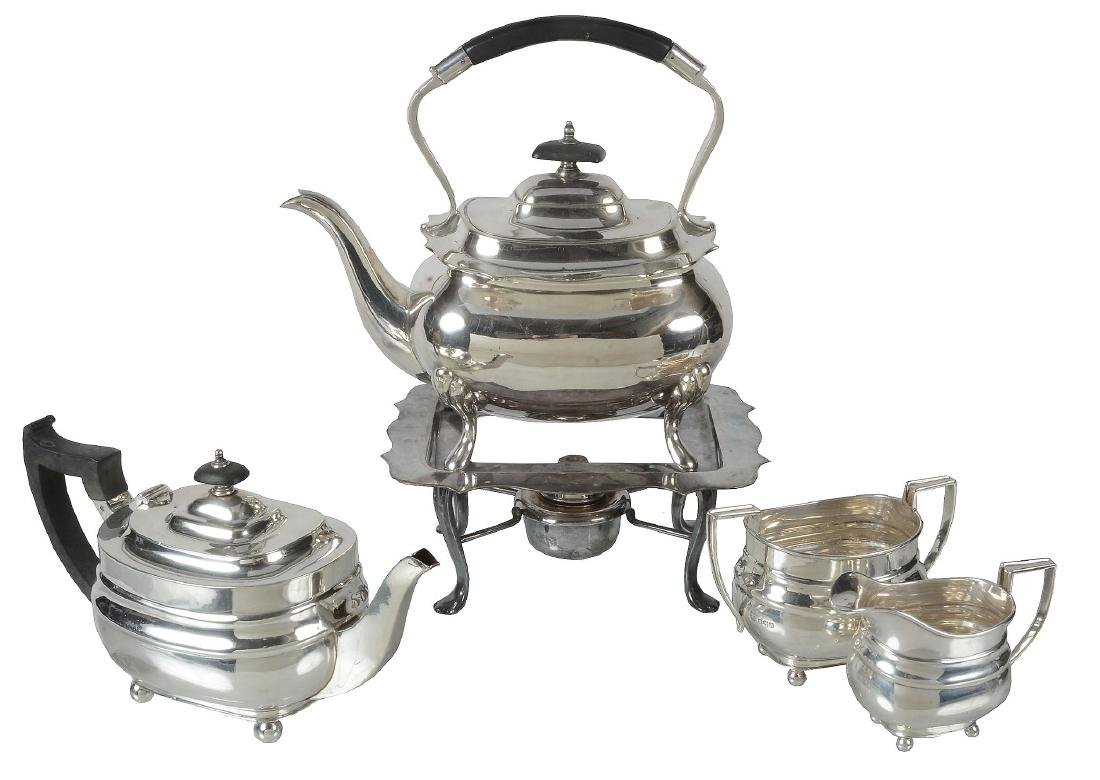A matched silver three piece oblong tea service