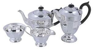 A silver four piece tea service by Viners Ltd,