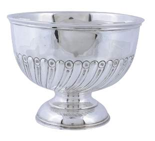 A silver small pedestal rose bowl by Charles Boyton &