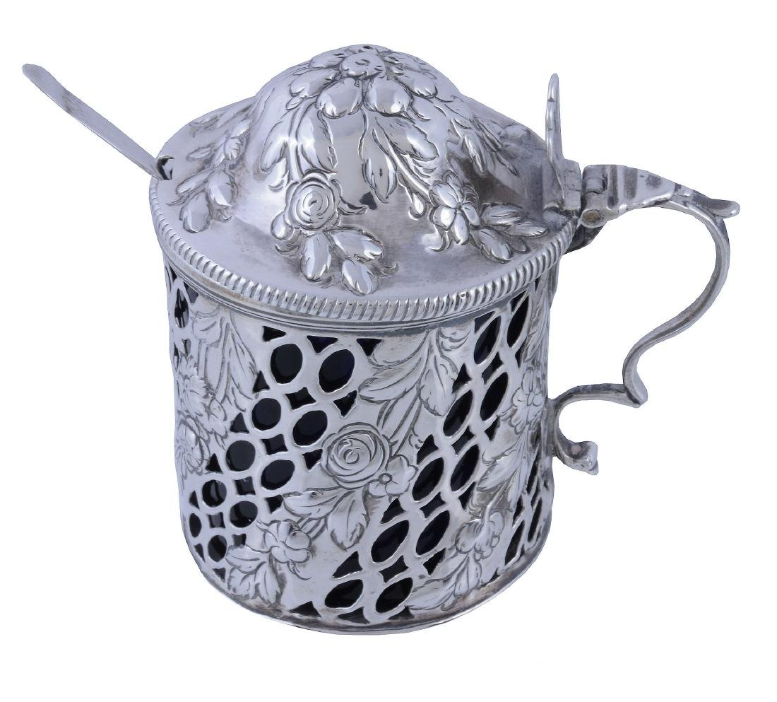 An early George III silver drum mustard pot, maker's