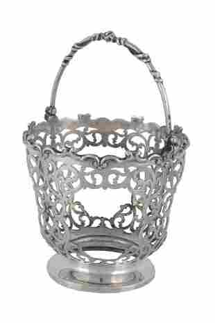 A Victorian silver sugar basket by James & Nathaniel
