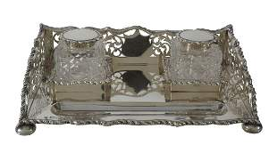 An Edwardian silver rectangular inkstand by George