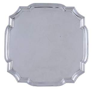 A silver shaped square small salver by Searle & Co