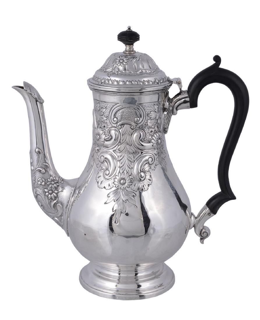 A late Victorian silver baluster coffee pot by Fordham