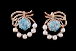 A pair of 1950s blue zircon and cultured pearl earrings
