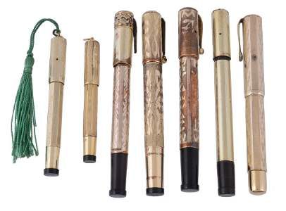 A selection of safety pens, makes including: Eterno;