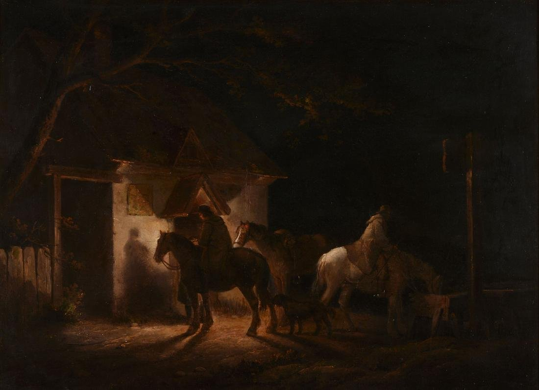George Morland (British 1763-1804) - Travellers at an