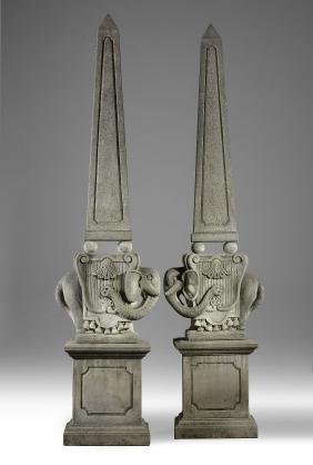 A pair of impressive Italian sculpted limestone garden