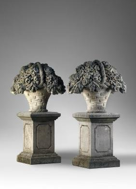 A pair of large Continental sculpted limestone pier