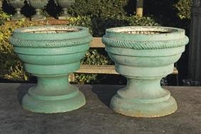 A pair of Continental blue painted cast iron garden