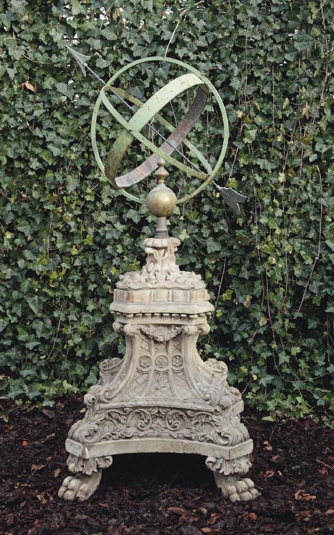 A bronze and wrought iron armillary sphere mounted onto