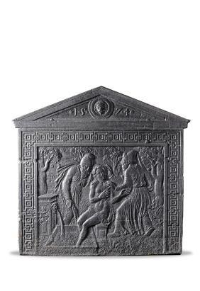 A French Henri IV cast iron fireback , dated 1574