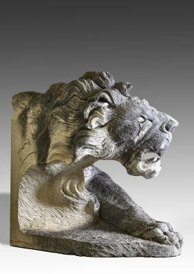 A substantial sculpted limestone model of the head and