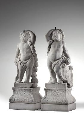 A pair of Flemish sculpted Carrara marble models of