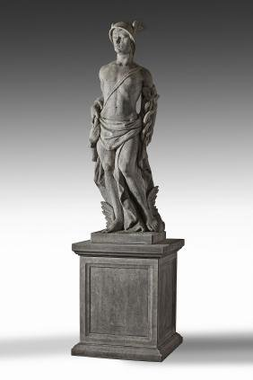 A sculpted limestone model of Mercury, in the Classical
