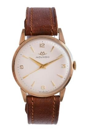 Movado, a 9 carat gold wristwatch, no. 01596,