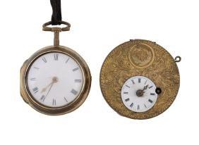 A gilt metal pair cased open face pocket watch, circa