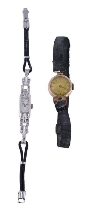 A lady's platinum and diamond cocktail watch, circa