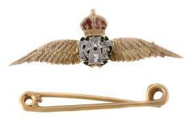 A 1950s diamond and enamel RAF sweetheart brooch