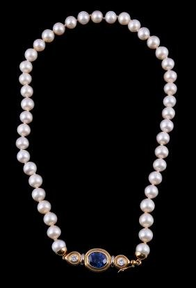 A cultured pearl, sapphire and diamond necklace