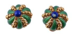A pair 1980s of green and blue enamelled earrings