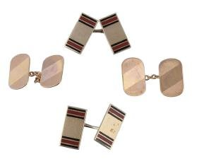 A pair of enamel double sided cufflinks, the