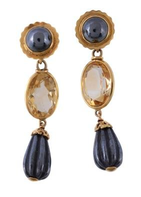 A pair of citrine and haematite earrings, the reeded