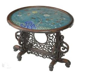 A Chinese cloisonne; and hardwood circular