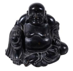 A Chinese bronze figure of Budai, Qing Dynasty, 18th or