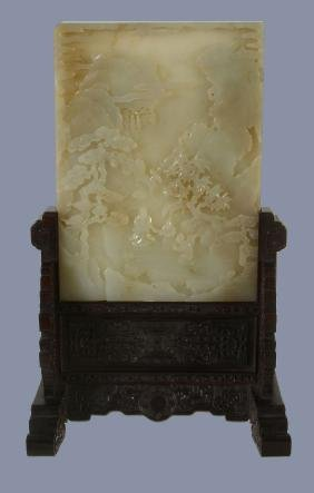 A good Chinese white or pale celadon jade table screen