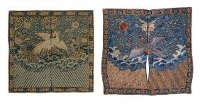 Two Chinese embroidered rank badges , Qing Dynasty,