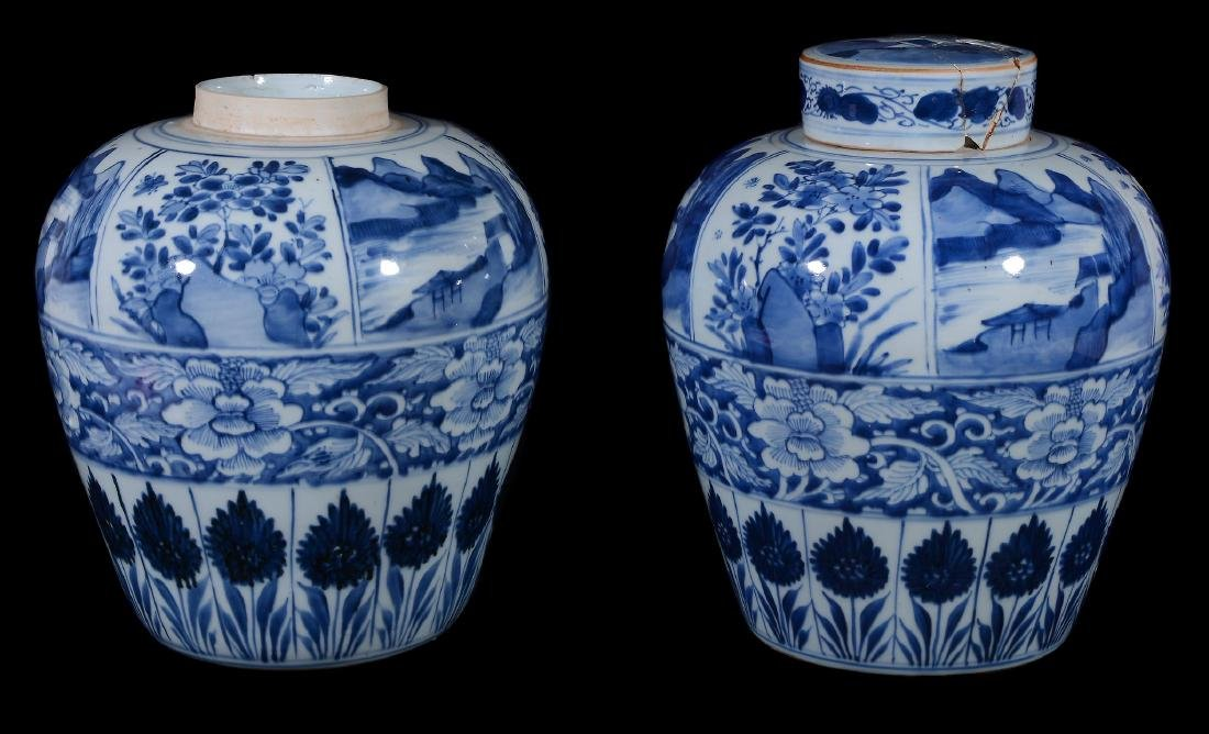 A pair of Chinese blue and white ginger jars, Kangxi