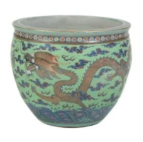 A large Chinese jardinière , late Qing Dynasty