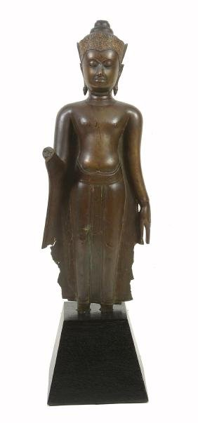 A bronze Standing Buddha , Ayutthaya, 16/17th century