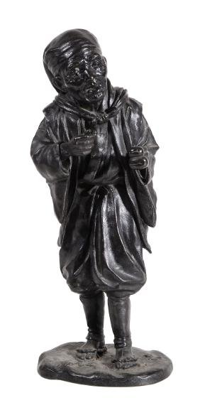 A Japanese bronze figure of an elder , Meiji period,