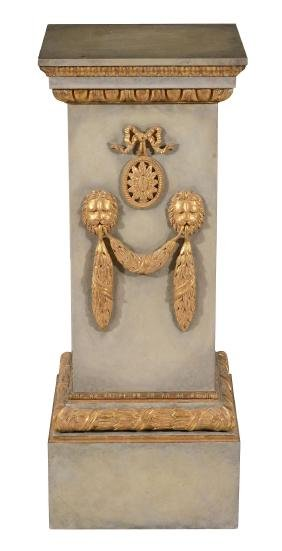 A painted and parcel gilt wood faux marble pedestal ,