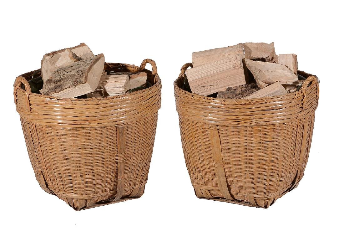 A pair of wicker log baskets, with loop handles and - 2