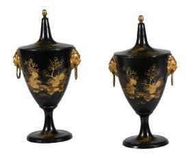 A pair of Dutch tole ware chestnuts urns, circa 1780