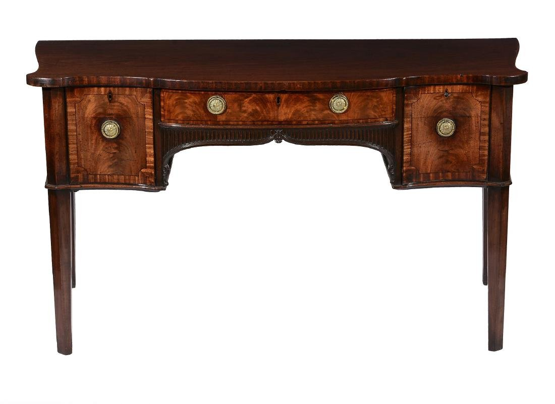 A George III mahogany serpentine sideboard, attributed - 2