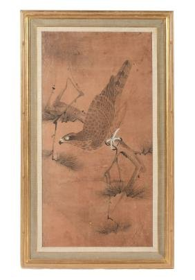 A pair of watercolour paintings of hawks, Edo period ,