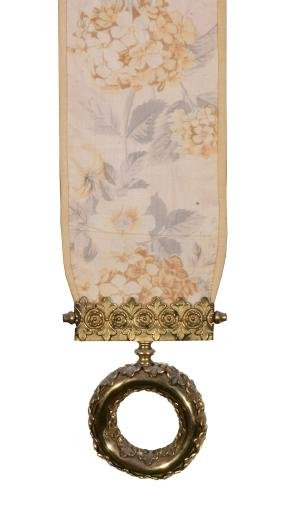 Two bell pulls with brass pulls and painted fabric,