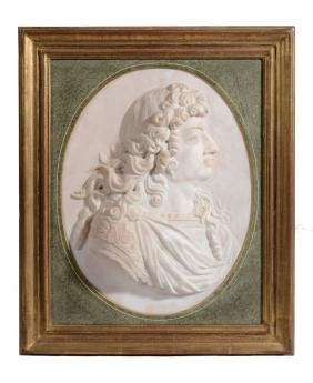 A French carved marble portrait profile relief, circa