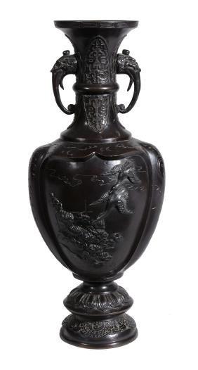 A Japanese bronze vase , late Meiji period