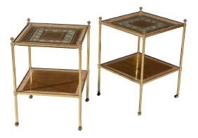 A pair of modern gilt brass two tier occasional tables