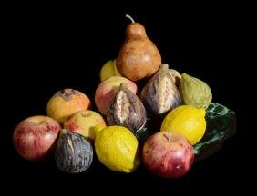A selection of modern ceramic fruit, naturalistically