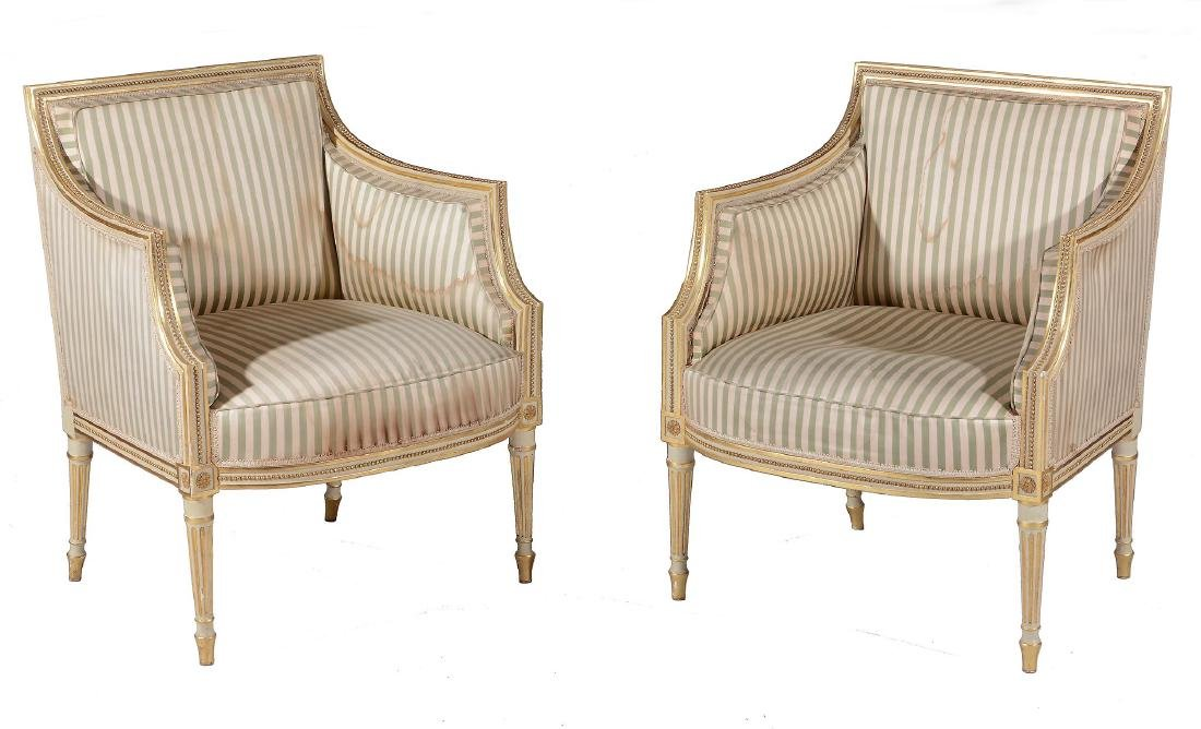 A George III cream painted and parcel gilt suite of